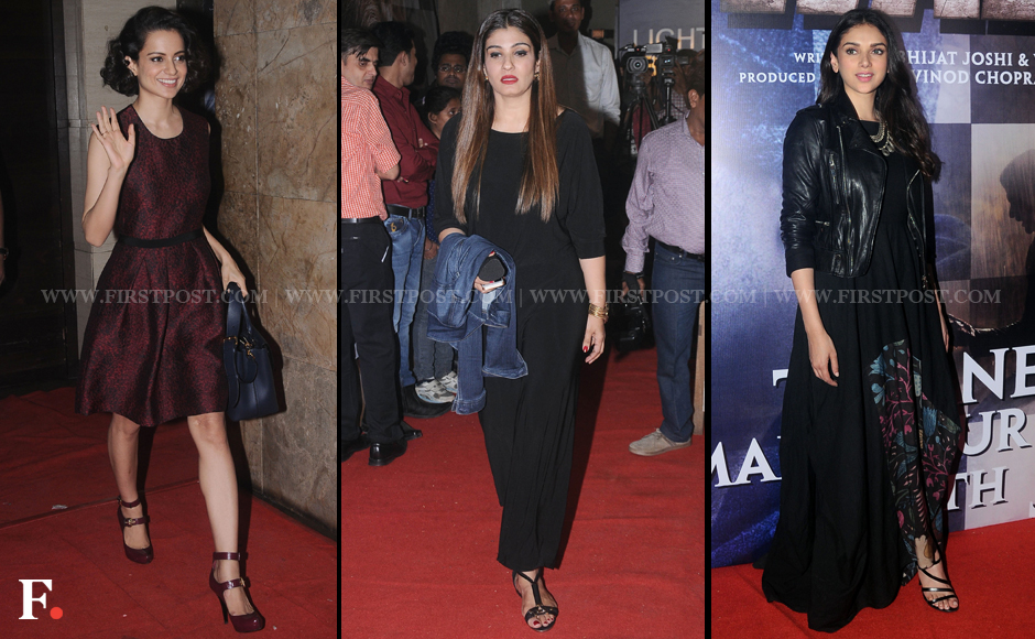 Kangana Ranaut, Raveena Tandon and Aditi Rao Hydari attend the special screening of Wazir. The film, directed by Bejoy Nambiar, will hit theatres on 8 January. Sachin Gokhale/Firstpost