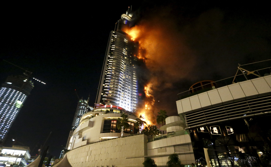 A huge fire engulfed The Address Hotel in Dubai injuring 16 people, on New Year's Eve. Reuters