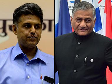 Manish Tiwari, VK Singh. AFP