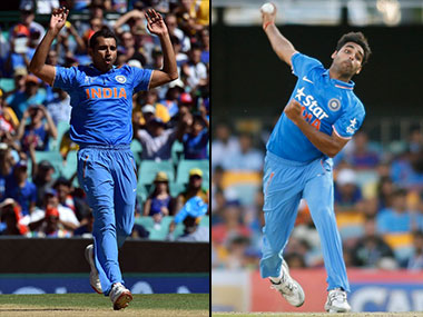 Mohammed Shami's (L) injury opens the door for Bhuvneshwar Kumar. AFP
