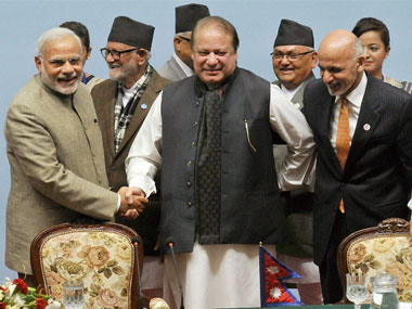 File image of Narendra Modi, Nawaz Sharif and Ashraf Ghani at the 18th Saarc Summit. PTI