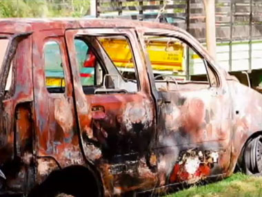 The locals set two cars on fire belonging to African students. IBNLive
