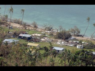 Damage in Susui Island after the most powerful cyclone in Fiji's history battered the Pacific island nation. AFP