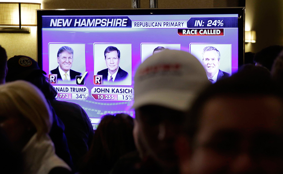 Supporters watch election returns on a big screen as they wait for Republican presidential candidate, businessman Donald Trump to speak during a primary night rally. AP