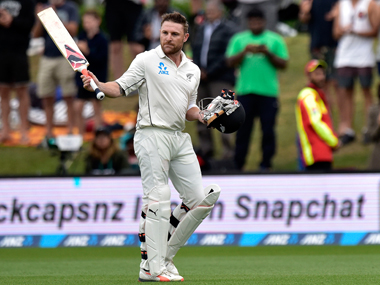 Brendon McCullum walks away after his last international innings. AFP
