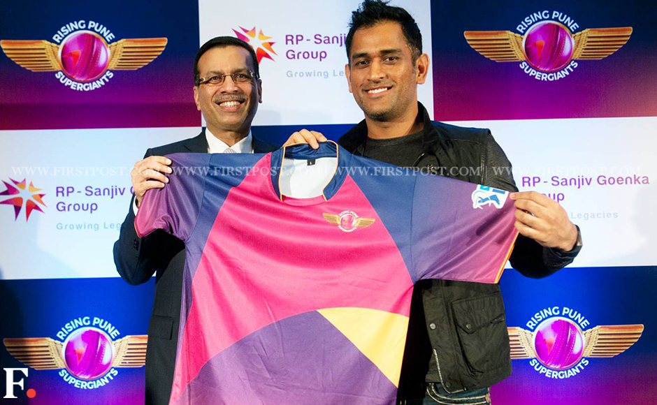 The RPSG jersey is in a dash of bold colours with the team logo's purple and pink being the most prominent. Image Credit: Naresh Sharma/Firstpost