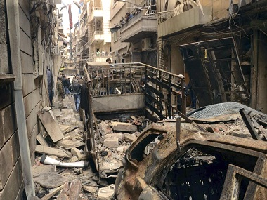 A street in Aleppo that was hit by shelling in April 2015. AP Photo/SANA