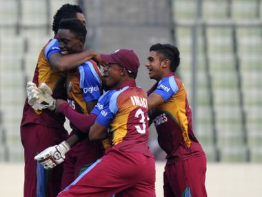 West Indies celebrate their win over Bangladesh in semis. Getty