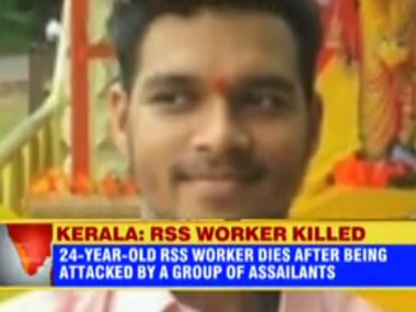 A screengrab of RSS worker PV Sujith who was murdered in Kannur. Courtesy ibnlive