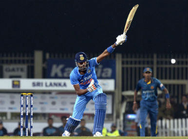 Hardik Pandya during the second T20I against Sri Lanka in Ranchi on Friday.-AFP