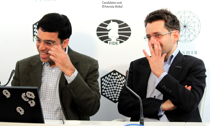 Vishy Anand (left) and Levon Aronian during the post-match news conference in Moscow's Central Telegraph building. Amruta Mokal