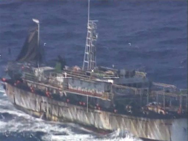 "Screen grab of a video released by Argentina's navy ,shows what they identify as Chinese fishing boat ""Lu Yan Yuan Yu 010"". AP"