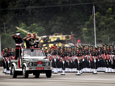 Army Chief General Dalbir Singh Suhag taking salute during a passing out parade at the Officer Training Academy in Chennai on Saturday. PTI