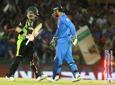 India skipper Dhoni stumps David Warner in Mohali on Sunday. Solaris Images