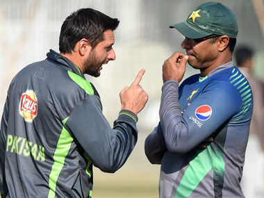 Pakistan captain Shahid Afridi and head coach Waqar Younis. AFP