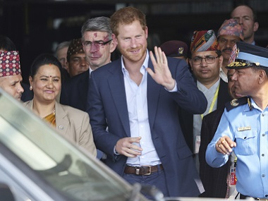 British Prince Harry arrives in Tribhuwan International Airport in Kathmandu. AP