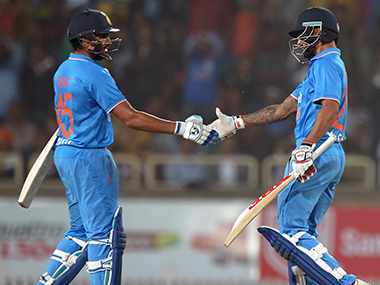 Openers Rohit Sharma (left) and Shikhar Dhawan are yet to get a big score in the ICC World T20 so far. AFP