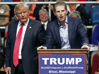 File photo of Donald Trump with his son Eric Trump