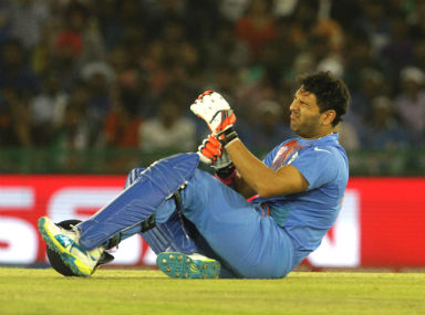 Yuvraj Singh grimaces in pain during the World T20 match against Australia on Sunday. Solaris Images