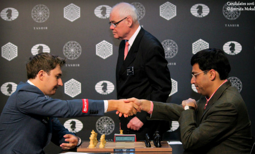 Anand resigns after 43 moves Karjakin in Moscow on Tuesday. Amruta Mokal