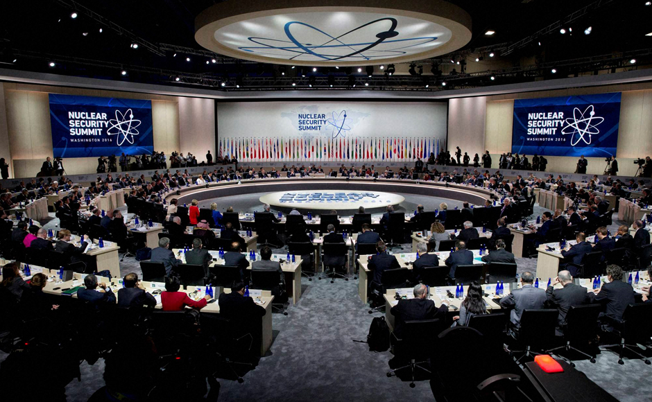 President Barack Obama makes opening remarks to world leaders during the plenary session of the Nuclear Security Summit in Washington on Friday. PTI