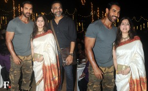 Actor John Abraham was the special guest at the launch of Smita Deo's cookbook 'Karwar to Kolhapur via Mumbai' on Sunday evening. Smita, who is the wife of filmmaker Abhinay Deo, is making her literary debut with this book. Image by Sachin Gokhale/Firstpost