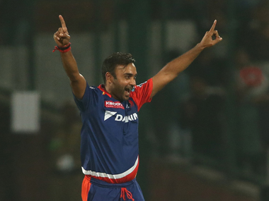 Amit Mishra of Delhi Daredevils celebrates getting Glenn Maxwell of Kings XI Punjab. BCCI