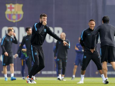 Barcelona players train ahead of Champions League Quarter-final second leg against Atletico Madrid
