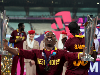 Dwayne Bravo with the trophy after West Indies won the World T20 title beating England at Eden Gardens in Kolkata on Sunday. Solaris Images