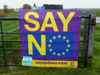 A poster urging people to vote to leave the European Union in the uncoming referendum is seen in Peterborough, eastern England. AFP