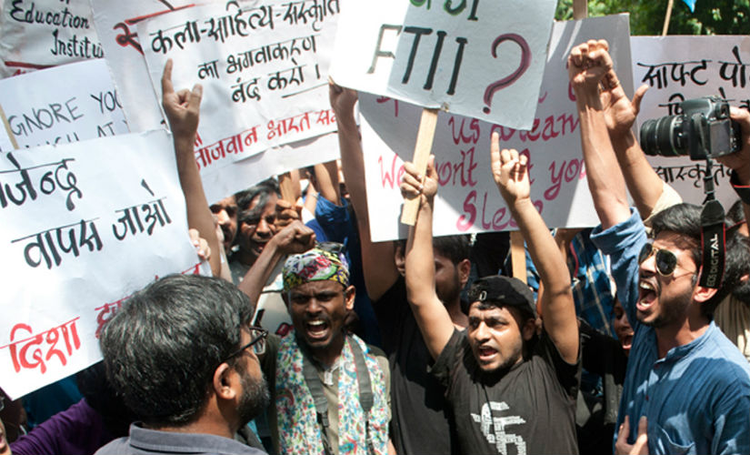 File photo of the students' protests against the appointment of Gajendra Chauhan as FTII chairman. Naresh Sharma/Firstpost