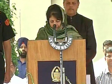 PDP chief Mehbooba Mufti takes oath as Jammu and Kashmir Chief Minister on Monday. ANI