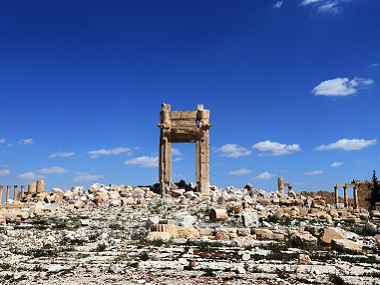 """Remains of Temple of Bel's """"Cella"""", which was blown up by jihadists of the Islamic State (IS) group, in Palmyra. AFP"""