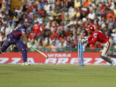 Irfan Pathan of Rising Pune Supergiants is run-out during a against Kings XI Punjab. BCCI