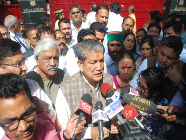 Deposed Chief Minister Harish Rawat addressing the media. Getty Images