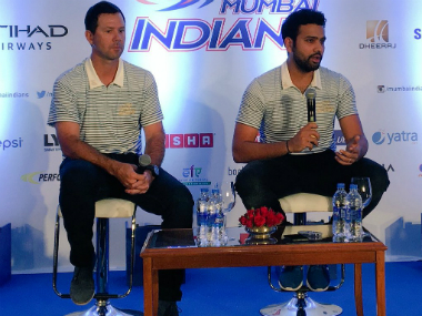 Ricky Ponting and Rohit Sharma at the Mumbai Indians press conference. Image Credit: Twitter @mipaltan