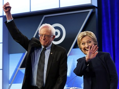 File photo of Bernie Sanders and Hillary Clinton. AP