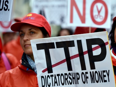 European consumer rights activists take part in a march to protest against the TTIP, austerity and poverty in Brussels. File photo Reuters