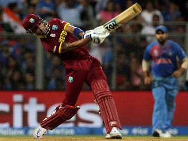 West Indies batsman Lendl Simmons hits a boundary during his knock against India at Wankhede on Thursday. Solaris Images