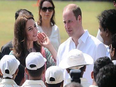 Kate Middleton and Prince William at a charity cricket match in Mumbai on Sunday. Image by Sachin Gokhale