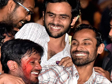 A file photo of Kanhaiya Kumar, Anirban Bhattacharya, and Umar Khalid. PTI