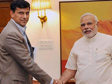Raghuram Rajan with Narendra Modi in a file photo. PTI