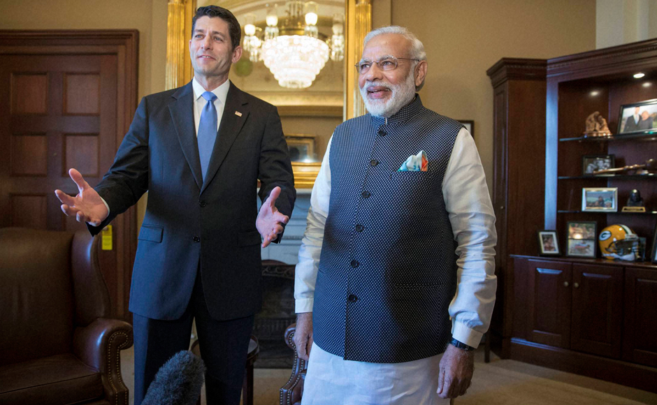 Prime Minister Narendra Modi is welcomed on Capitol Hill in Washington by House Speaker Paul Ryan before addressing a joint meeting of Congress. AP