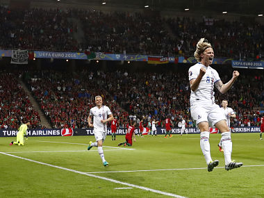 Iceland's Birkir Bjarnason celebrates after scoring against Portugal. Reuters