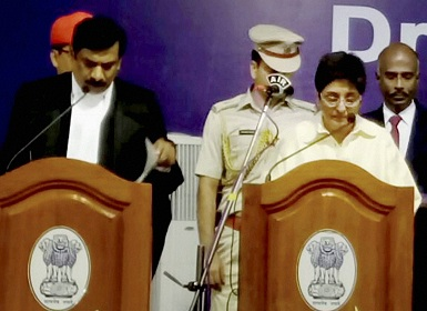 Puducherry Lt. Governor Kiran Bedi taking oath. PTI
