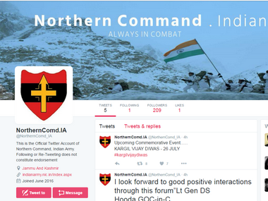 Twitter feed of Northern Command of Indian Army. Twitter/ @NorthernComd_IA