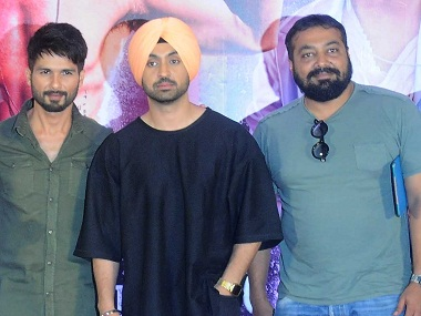 Shahid Kapoor and Diljit Dosanjh with Anurag Kashyap at a press conference for Udta Punjab