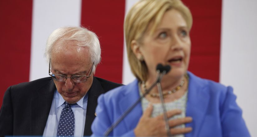 Bernie Sanders with Hillary Clinton. AP