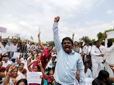 File image of a protest rally against the attacks on Dalits in Gujarat. Reuters