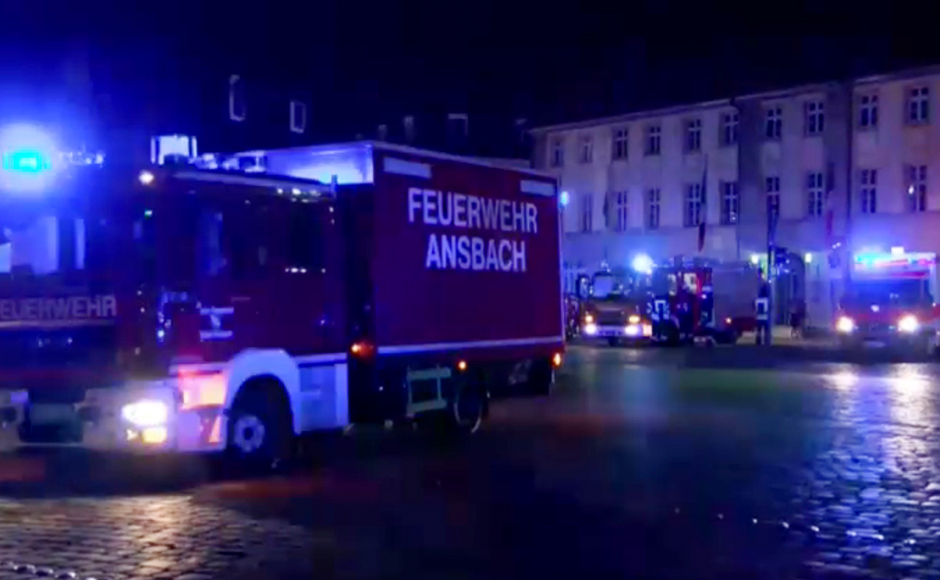 A man in the German city of Ansbach was killed when an explosive device he was believed to be carrying went off near an open-air music festival. Photo: AP